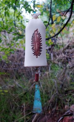 Ceramic Wind Chime Garden Bell with Leaf Pattern, Copper Wind Sail with Bird Sculpture Garden Art