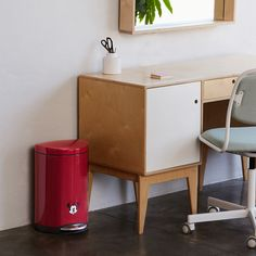 The simplehuman small steel step trash can has a space-saving shape for an ideal fit next to a desk, in the office, or in the bathroom. Trash Bins, The Office, Space Saving, Sweet Home, Canning, House Beautiful, Home Canning, Conservation