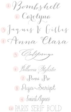 Calligraphy Fonts - Favorites are 2 & 4