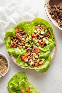 Use ground beef to get these Korean Beef Lettuce Wraps on the table in less than 20 minutes! So delicious, healthy, and easy to make, they'll be a new go-to for lunch and dinner. Great for meal prep, too. Easy Lettuce Wraps, Meal Prep, Food Prep, Korean Beef, Quick Weeknight Meals, Healthy Low Carb Recipes, Wrap Recipes, Lunches And Dinners, Stuffed Peppers