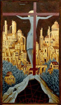 Cimabue: The crucifixion Religious Images, Religious Icons, Religious Art, Byzantine Icons, Byzantine Art, Christian Images, Christian Art, Religion, Jesus Art