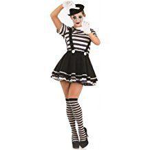 Mujer Disfraz verkleidung Francés Pantomima Artista Circo 5piezas Halloween Disfraz Outfit EU 36–50übergröße