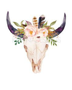 Cow Skull Printable Wall Art Wall Decor by KirraReynaDesigns