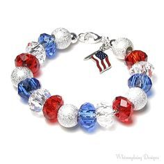 Red White and Blue Silver Finish Beaded American Flag Charm Bracelet, Memorial Day, 4th of July, Patriotic Bracelet, Military Mom Jewelry on Etsy, $36.00