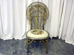 Antique-Wicker-amp-Needlepoint-Victorian-Style-Side-Chair-w-Curlicue-Scrolls-NICE