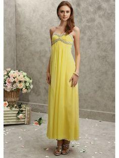 Chiffon Strapless Slim A-line Prom Dress