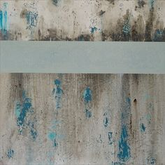 Modern Abstract Painting in Teal and Grey Large Textured by CMFA