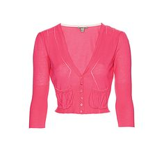 Bandolera Pink cropped bolero cardigan ($33) ❤ liked on Polyvore featuring tops, cardigans, sweaters, outerwear, pink, crop top, long cardigan, cropped crochet cardigan, pink cropped cardigan and long sleeve tops