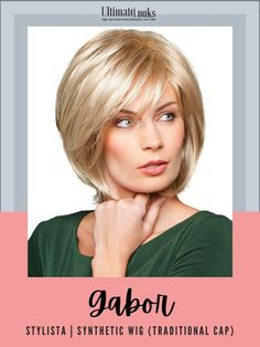 This layered look has a tapered back with loose shattered lengths throughout, allowing smooth or voluminous styling options in the crown and sides.#hairstyles #hairdo #hairoftheday #styleinspo #styles Gabor Wigs, Textured Bob, Layered Look, Synthetic Wigs, The Crown, Hair Color, Smooth, Cap, Hairstyles