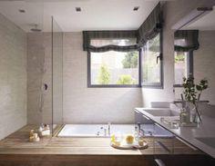 Baño con bañera y ducha Bath Remodel, Cozy House, My Dream Home, Home Art, Future House, Home Goods, Sweet Home, New Homes, Bathtub