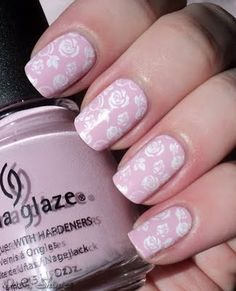 Konad M65, Roses, China Glaze Something Sweet
