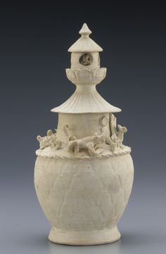 Chinese Art | Jar with building, praying human figure, and animals of the four directions | S1999.120.13a-b