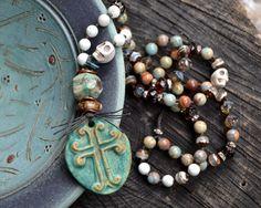 Earthy Bohemian Skull Necklace Stoneware cross by JeSoulStudio, $149.00