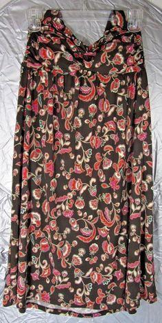 Candie's Royal Floral Halter Dress Size Large Brown Red pink Stretch knit NWOT #Candies #halter
