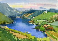 A lake in Umbria, Italy by Jill Stefani Wagner