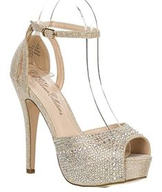 Bridal Wedding Formal Evening Party Strap Peep Toe Lace Glitter Sandal VICE-93