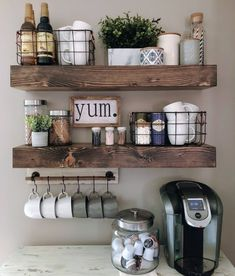 This is a sign to update your at home coffee bar! Start your week right. #fluffinterior #fluffinteriordesign #LoveWhereYouLive #coffeeathome #coffeeaddict  Coffee Bar Home, Home Coffee Stations, Coffee Bar Ideas, Coffee Bars, Coffee Coffee, Coffee Break, Coffee Bar Station, Coffee Station Kitchen, Tea Station
