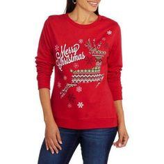Women's Festive Deer Christmas Fleece Crewneck Pullover, Size: 2XL, Red