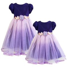 white and purple flower girls dresses satin bow sashes fluffy ...