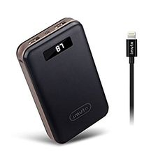 iMuto 20000mAh Compact External Battery + Apple Mfi Lightning Cable (3.3ft), Power Bank Portable Charger with Smart LED Digital Display and Fast Charge for iPhone 7,7 Plus, Nintendo Switch, iPad and more (Black)