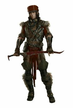 Human Male Slayer Warrior - Pathfinder PFRPG DND D&D d20 fantasy