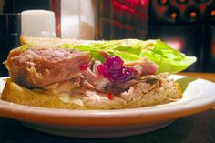 Leftover Turkey Sandwich Topped with Muenster Cheese and Cranberry Sauce Recipe