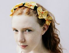 Eco Friendly Handmade Hair Pins Recycled T Shirt Flowers Yellow Orange Set Five Hair Accessories Wedding Boho Woodland