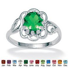 Ordered $19.96 Oval Cut Simulated Birthstone Sterling Silver Ring at PalmBeach