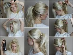 HOW TO SEXY messy ponytail. Blowdry with 3 styler, tease at the tops and around crown, hairspray then smooth. Leave any bits you want out from the sides then scoop your hair into a messy ponytail.Take a small slice of hair from your ponytail and wrap around the hair band. Tease to texturise your ponytail for a messy haven't tried to hard look.