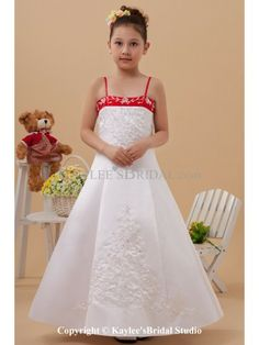 Satin Spaghetti Straps Neckline Ankle-Length A-line Flower Girl Dress with Embroidered