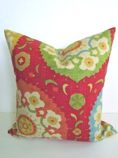 PILLOW Cover  ORANGE RED Coral 16x20 or 12x20 Decorative Throw Pillows Green Lumbar  Blue Yellow Throw pillow covers medallion