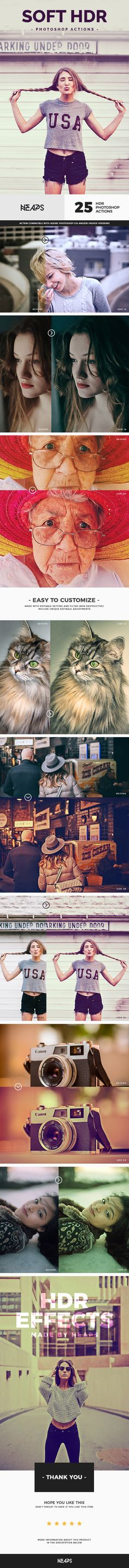 25 Soft HDR Photoshop Actions - Photo Effects Actions Download here: https://graphicriver.net/item/25-soft-hdr-photoshop-actions/20099604?https://graphicriver.net/item/smart-skin-retouch-effects/20126989?ref=classicdesignp