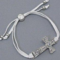 "Designer Inspired, Silver & White Sideways Side Cross Bracelet, 1 7/8"" H, Adjustable Hail Mary Gifts. $13.50. Jewelry"