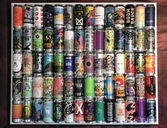 Finished DIY Beer Can Display. Build your own artwork from your favorite 16 oz craft beer cans. Beer Crafts, Craft Beer Gifts, Craft Beer Labels, Diy Gifts, Beer Can Art, Beer Art, Craft Beer Wedding, Beer Decorations, Husband