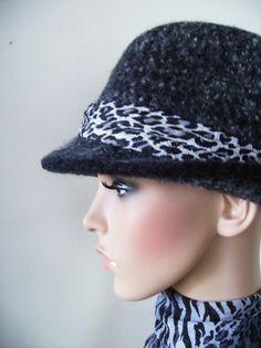 Fedora Fashion Style Felted Wool Hat  Darkest Gray by Krystala, $70.00