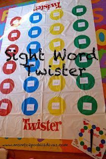 Word Recognition #2- Kids love the regular game Twister, so why not make it educational? The whole class can not use just one Twister mat, so you will have to have several. On each dot, there will be a sight word. The students will spin the spinner to find out which body part will be placed on what color, and the teacher will also tell them a sight word to put that body part on.