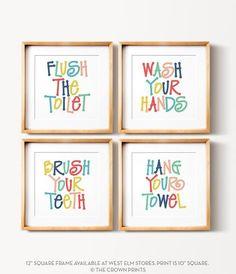 Kids bathroom art set PRINTABLE art Flush the toilet Wash your hands Brush your teeth Colorful bathroom wall decor Bathroom wall art by TheCrownPrints Kids Bathroom Art, Bathroom Rules, Family Bathroom, Bathroom Wall Decor, Bathroom Colors, Colorful Bathroom, Kids Bathroom Storage, Baby Bathroom, Kid Bathrooms