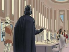 Ralph McQuarrie concept art for a dinner in the clouds.