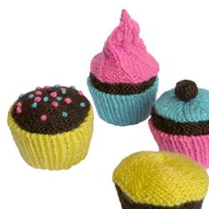 four different cupcake designs