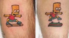 Animated Bart Simpson Kickflip Tattoo By Phil Berge - http://www.theinspiration.com/2017/08/animated-bart-simpson-kickflip-tattoo-phil-berge/
