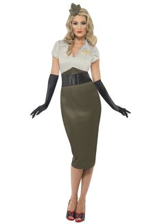 Navy Pin Up Girl Costume | WW2 Pin Up Army Girl Costume Adult - Party Britain Fancy Dress