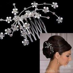 Musuntas Brautschmuck Haarkamm Haarschmuck Perlen warm Weiß Kristall klar Blumen Strass kämmen Tiara