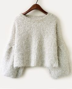 f50b9e80a432c Shop Apricot Long Sleeve Vintage Crop Loose Sweater online. Sheinside  offers Apricot Long Sleeve Vintage