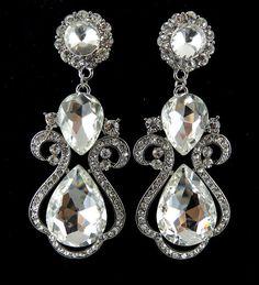 """PAIR Large Teardrop Wedding Bridesmaid Party Prom Rhinestone Bridal Earrings Gauges Plugs 00g - 9mm 7/16"""" - 11mm 1/2"""" - 12mm 9/16"""" - 14"""