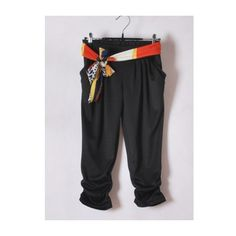 Women Summer Euro Style Seven Socks Individual Sash Harem Pants Black... ($12) via Polyvore