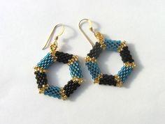Hexagon hoop earrings.