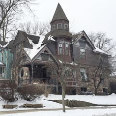 A corner house in the Heritage Hill neighborhood of Grand Rapids, Michigan. I think I saw at least 5 ghosts as I drove by. Edwardian Era, Victorian, Archi Design, Corner House, Second Empire, Autumn Aesthetic, Romanesque, Ghosts, Old Houses