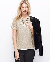 Champagne Lace Tee - Embellished lace and a lustrous champagne palette add the perfect bit of polish to this party-ready piece. Jewel neck. Short sleeves. Exposed back zipper.