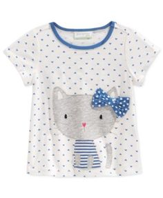 First Impressions Baby Girls' Short-Sleeve Kitty Bow T-Shirt, Only at Macy's