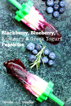 Delicious blackberry, blueberry, rosemary and Greek yogurt ~ a great snack for kids or even breakfast ~ get the recipe at http://cupcakesandcrinoline.com/2015/07/15/blackberry-blueberry-and-greek-yogurt-popsicles/